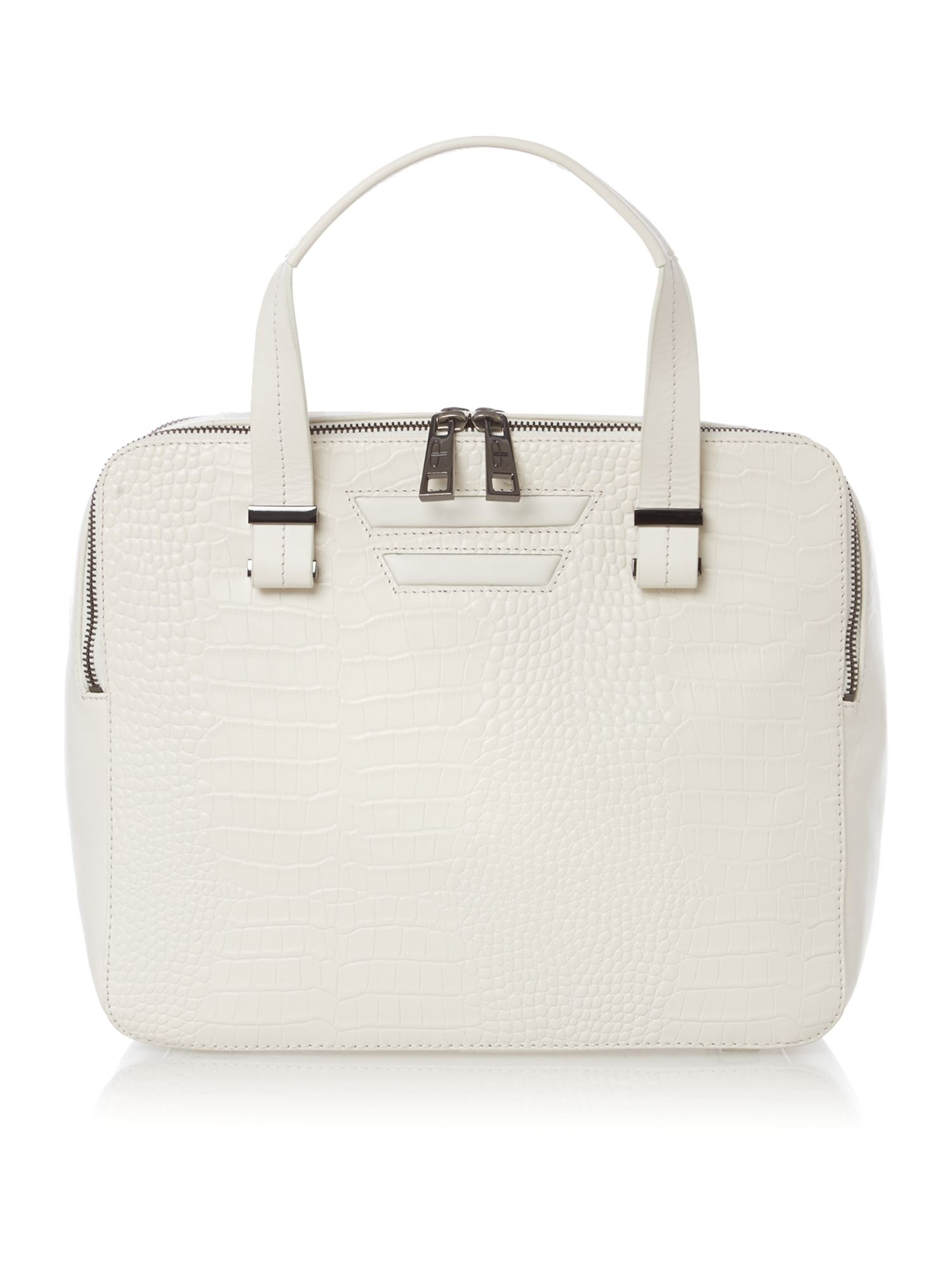 White pisces double zip bowler bag