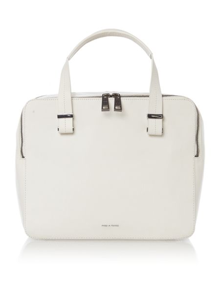 Pied a Terre Leather White pisces double zip bowler bag