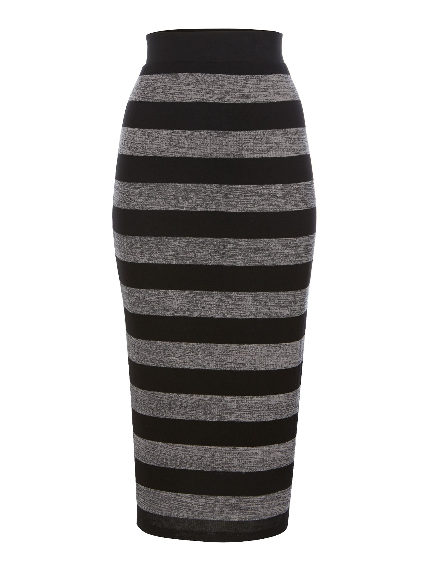 Brush stripe midi skirt