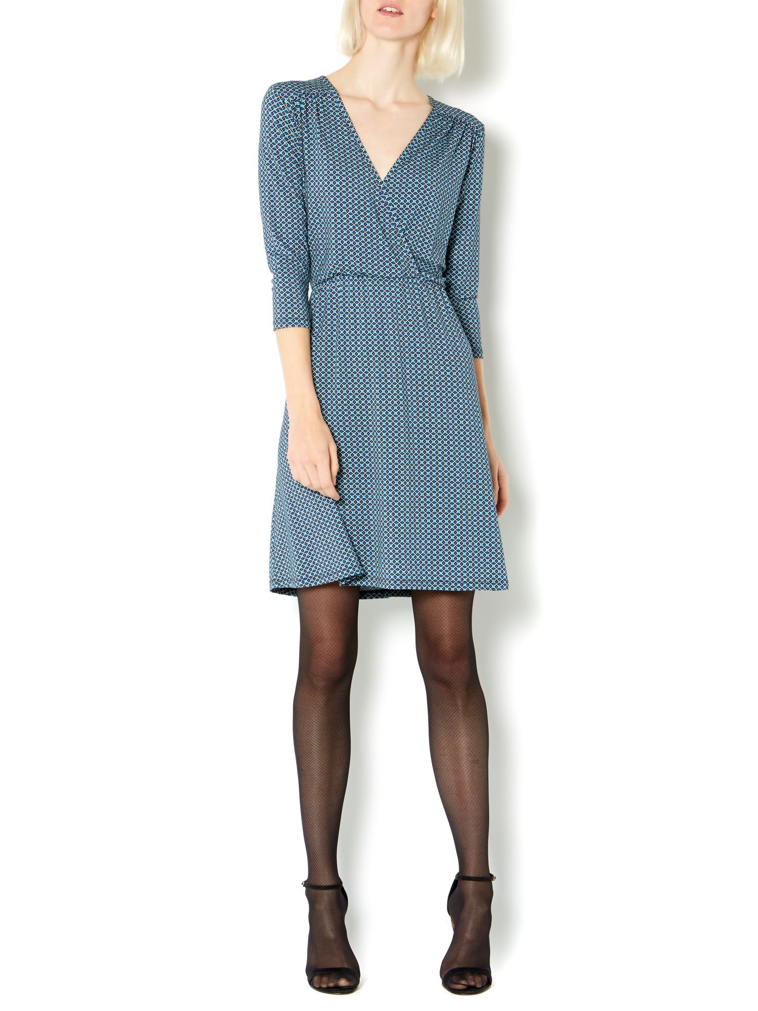 Mosaic tile print jersey wrap dress
