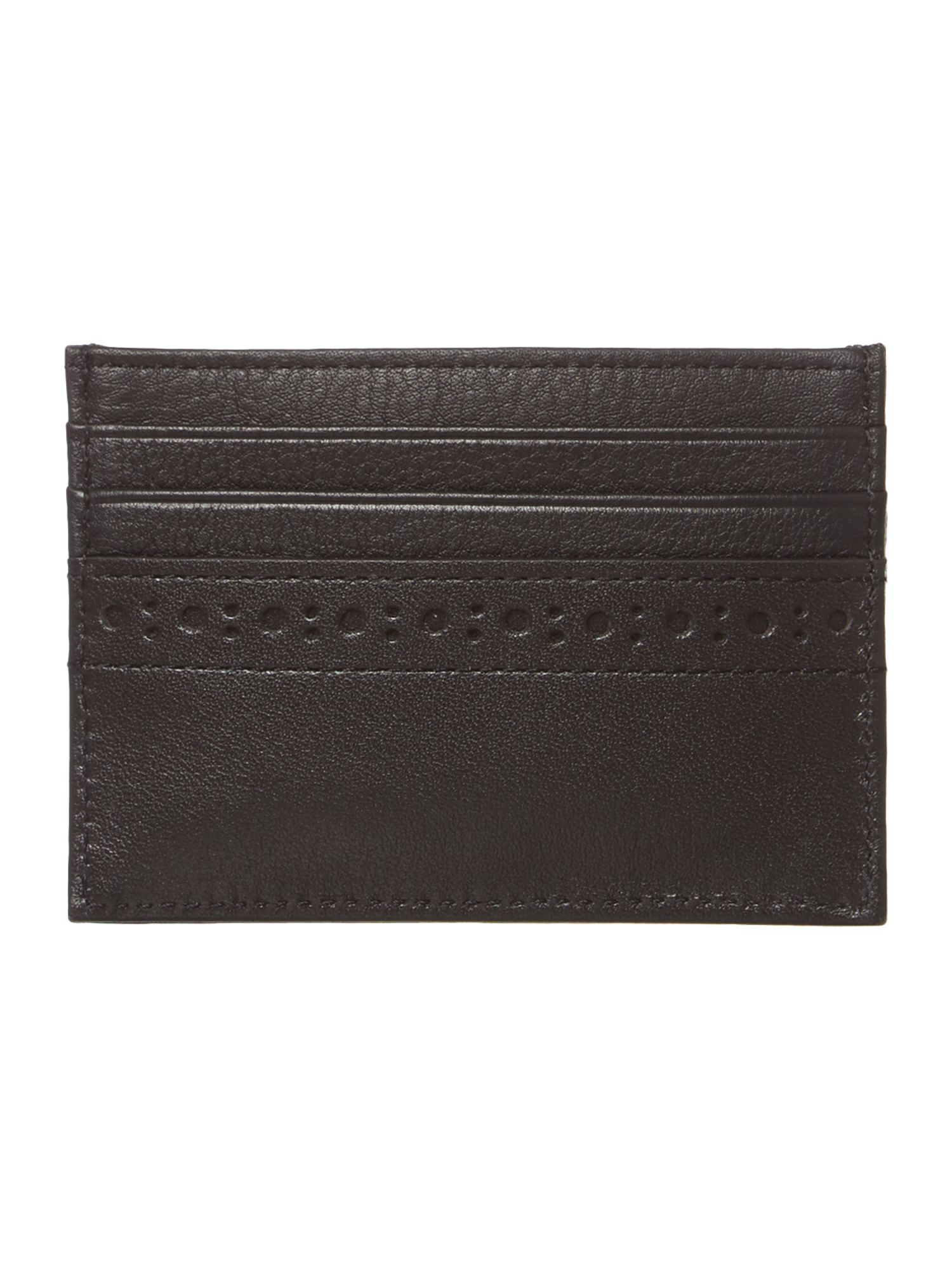 Leather brogue edge card holder