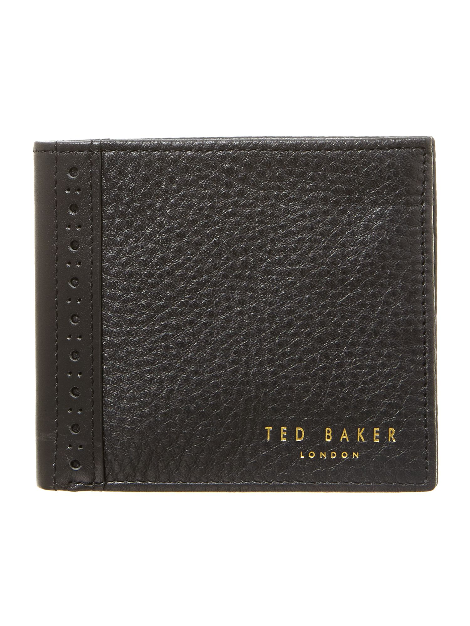 Leather brogue edge wallet