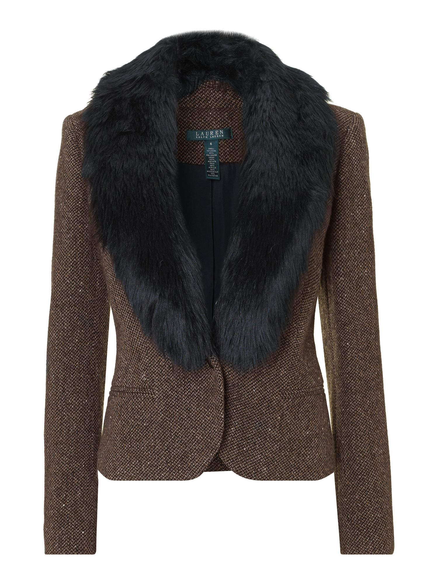 Lomg sleeve jacket with fur collar