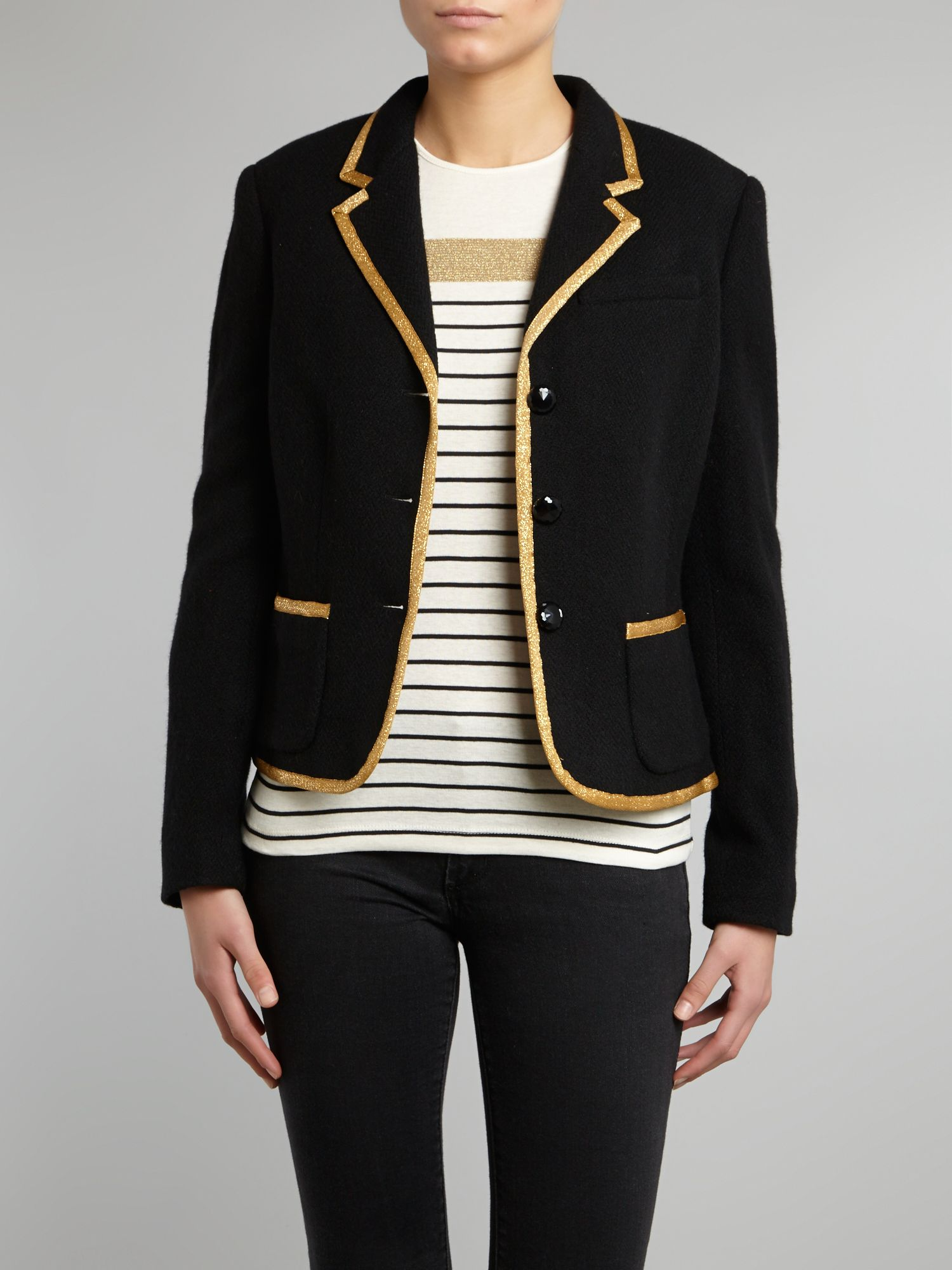 3 button jacket with gold trim