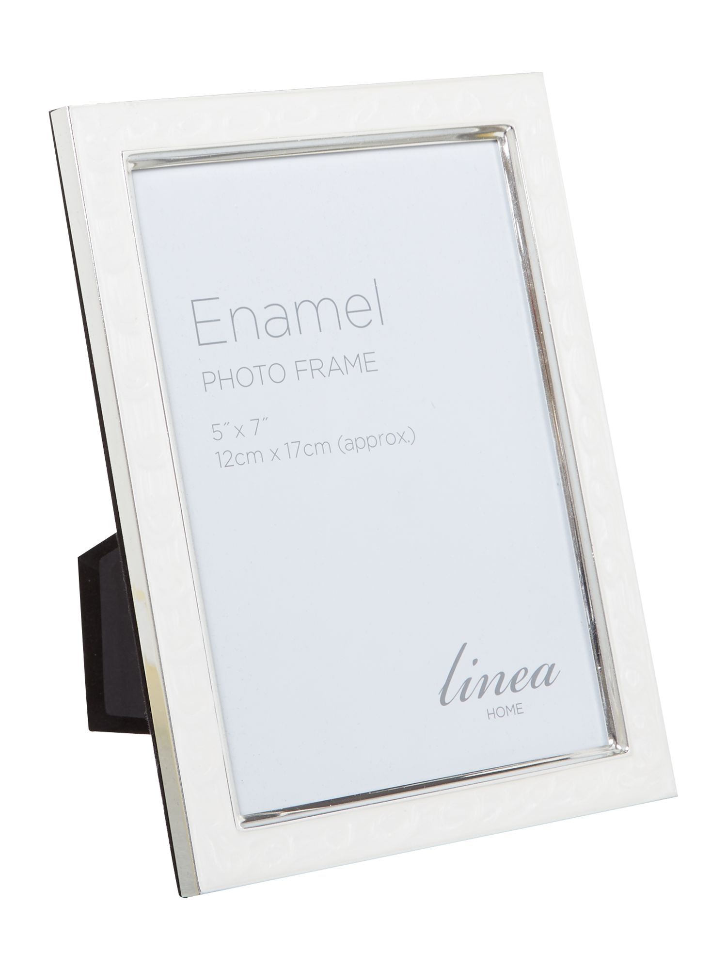 Cream enamel photo frame, 5 x 7