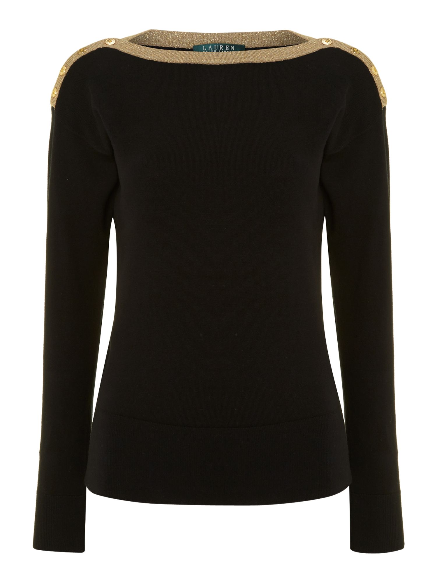 Long sleeved top with gold trim