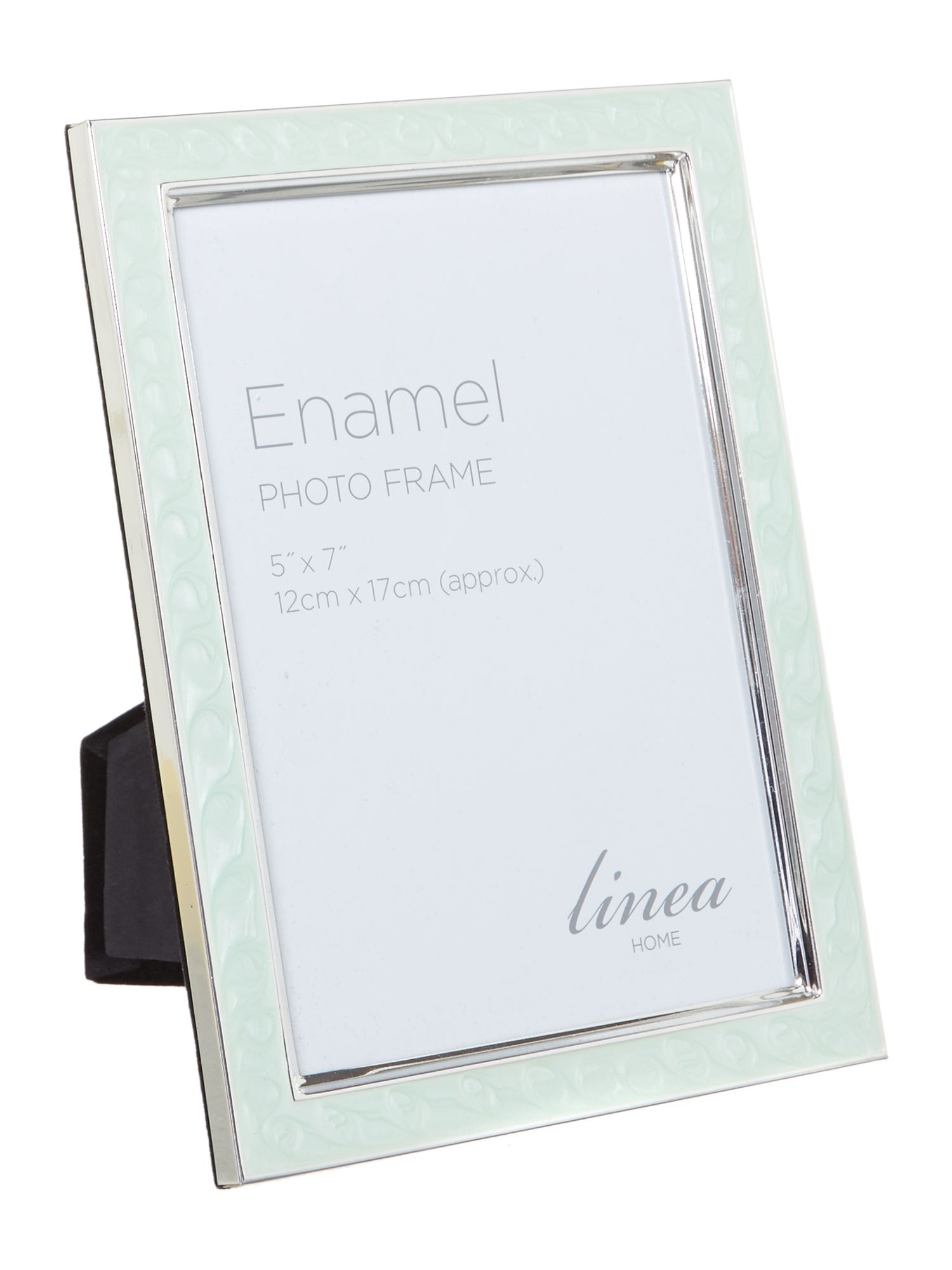 Mint enamel photo frame, 5 x 7