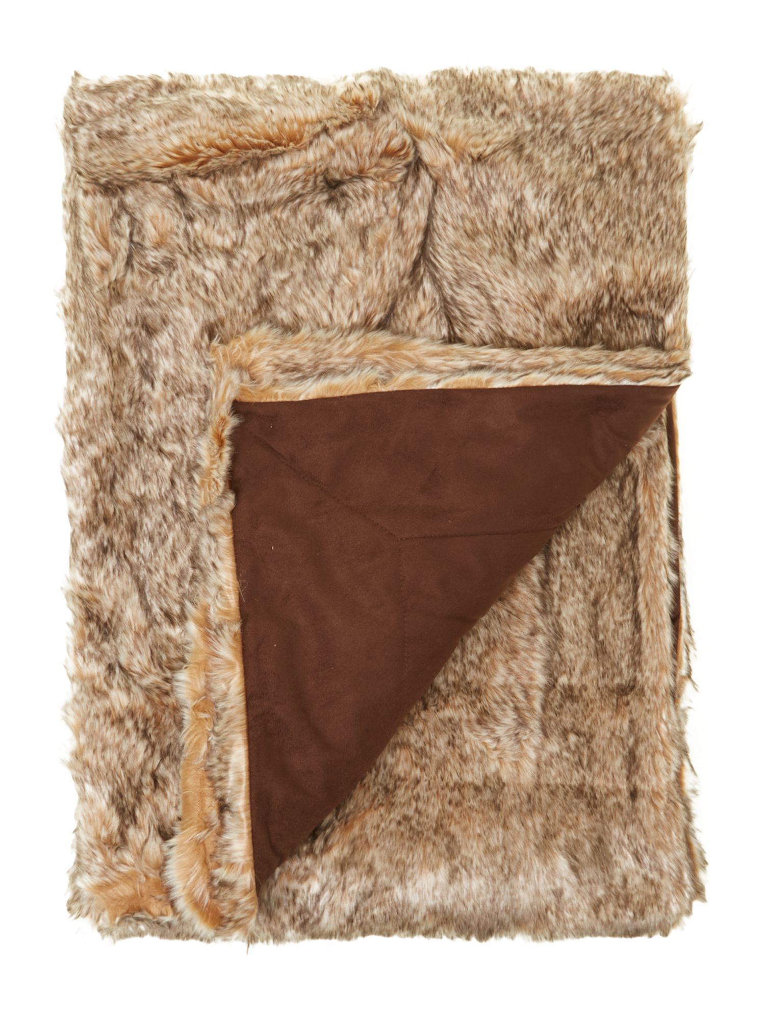 Plush brown fur bedspread