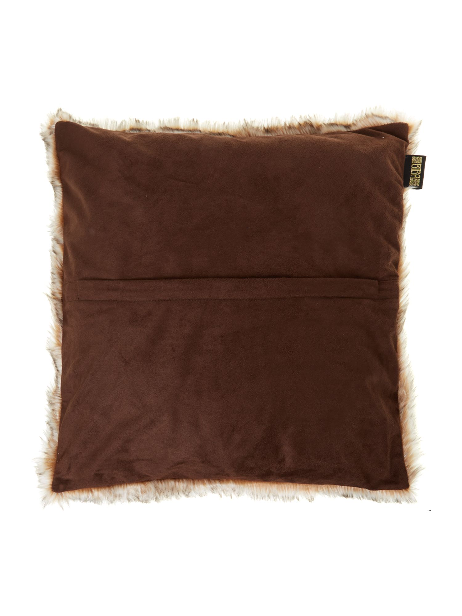 Plush brown fur cushion