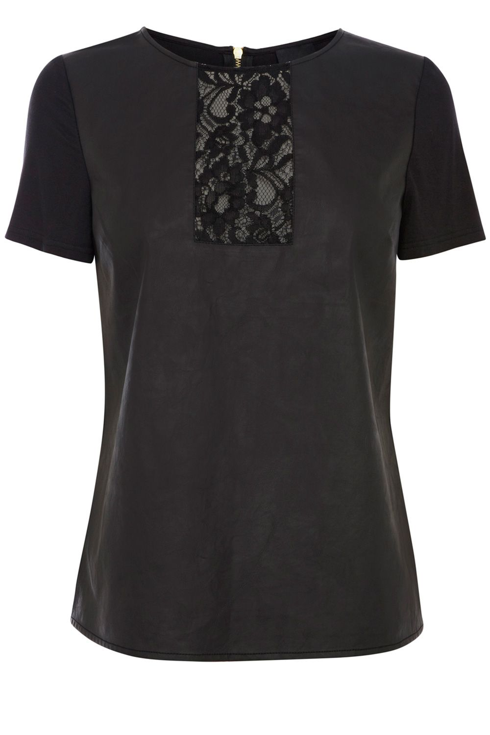 Lace insert faux leather tee