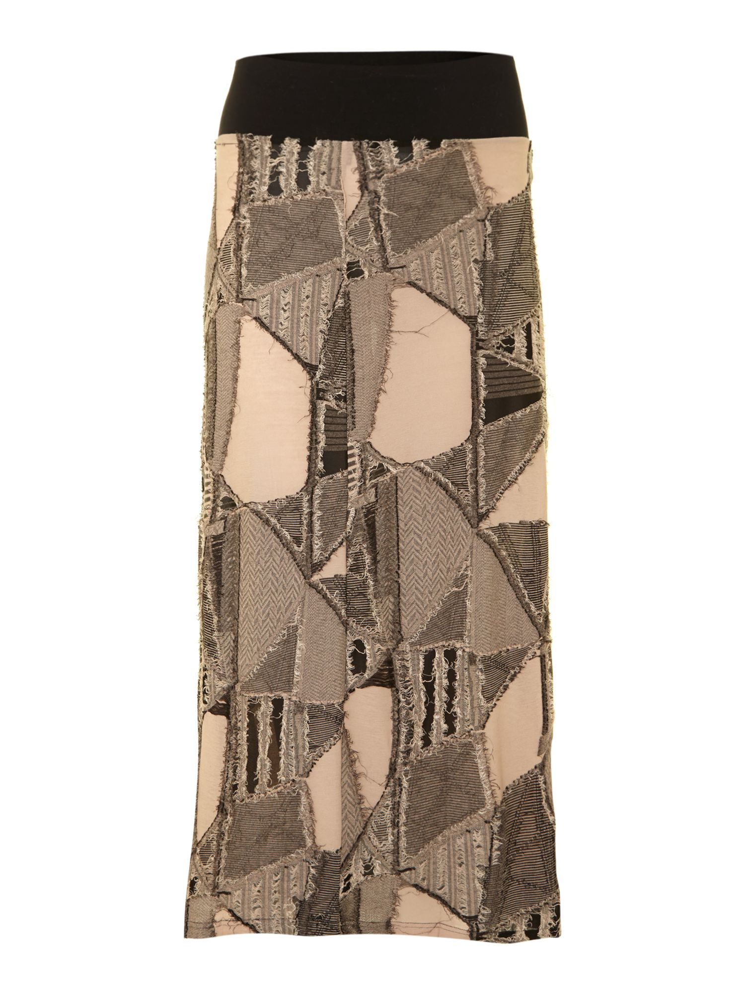 Textured patchwork maxi skirt
