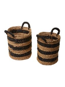 Set of 2 striped rush baskets