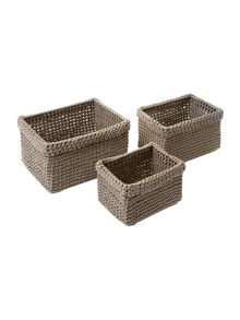 Casa Couture Crochet Storage Baskets (Set of 3)
