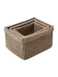 Set of 3 rectangular rope crochet baskets