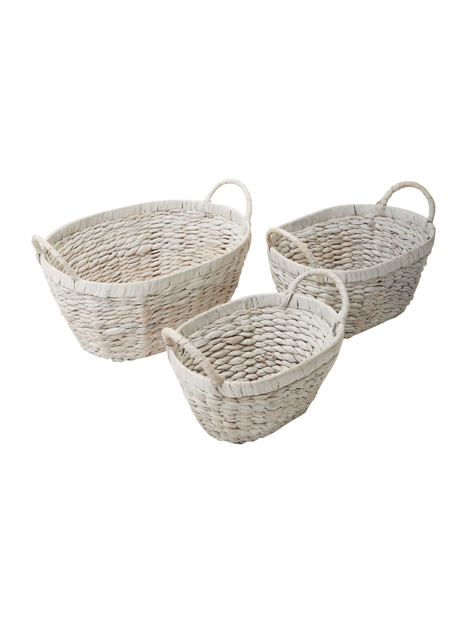 Set of 3 whitewash water hyacinth baskets