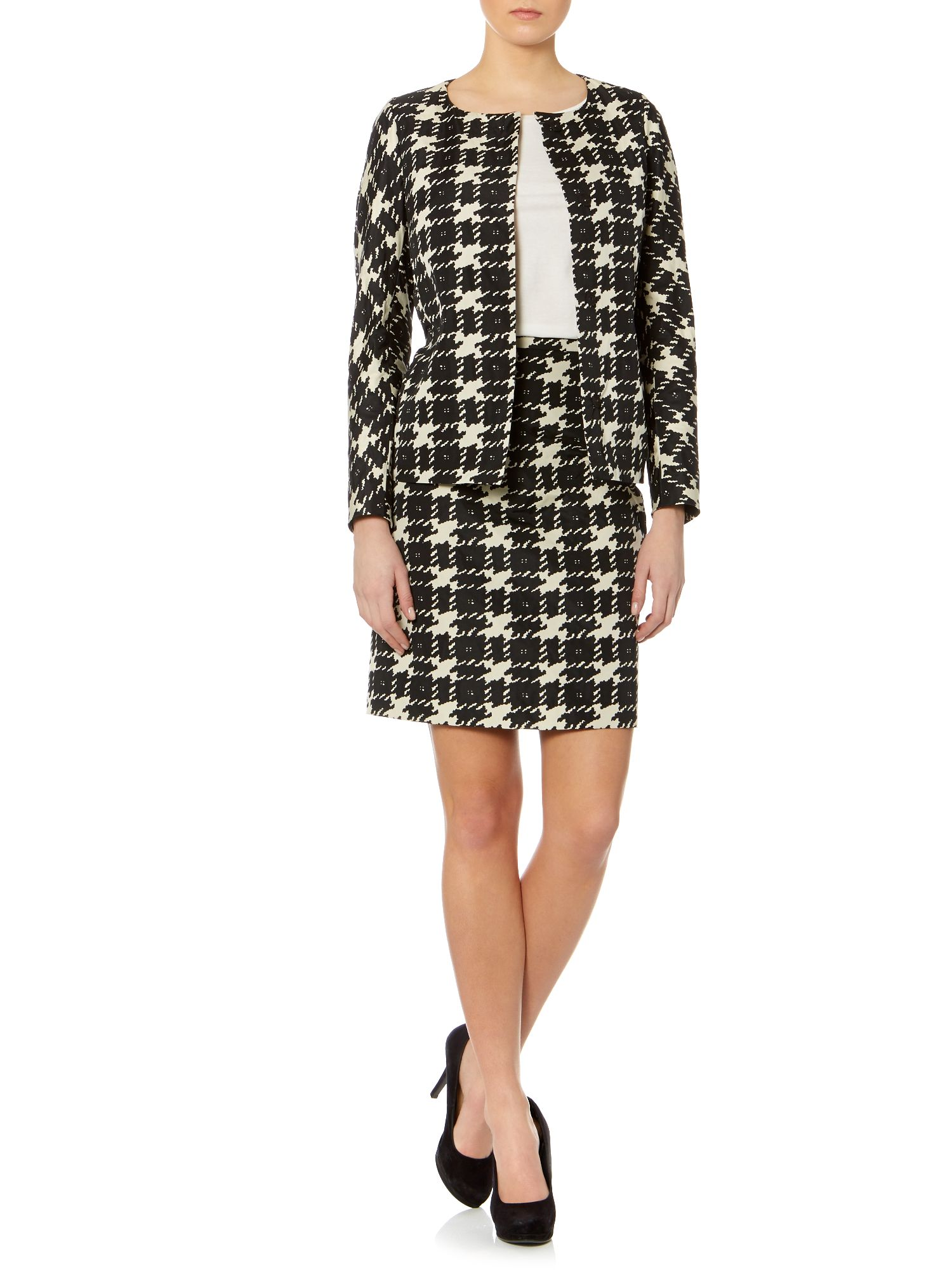 Fiandra long sleeved hounds tooth checked jacket