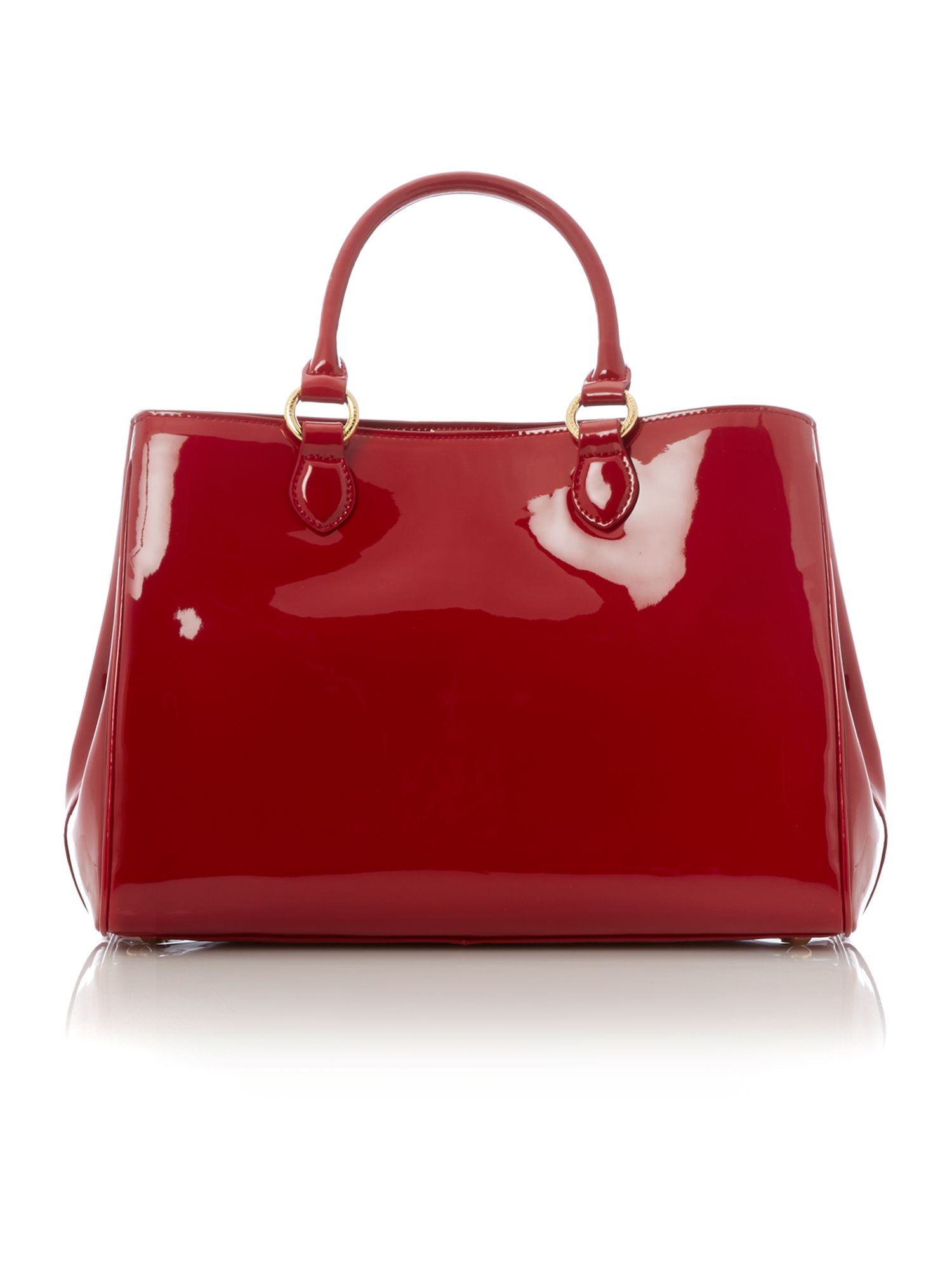 Red patent large tote bag