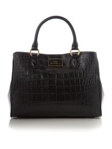 Black croc print tote bag