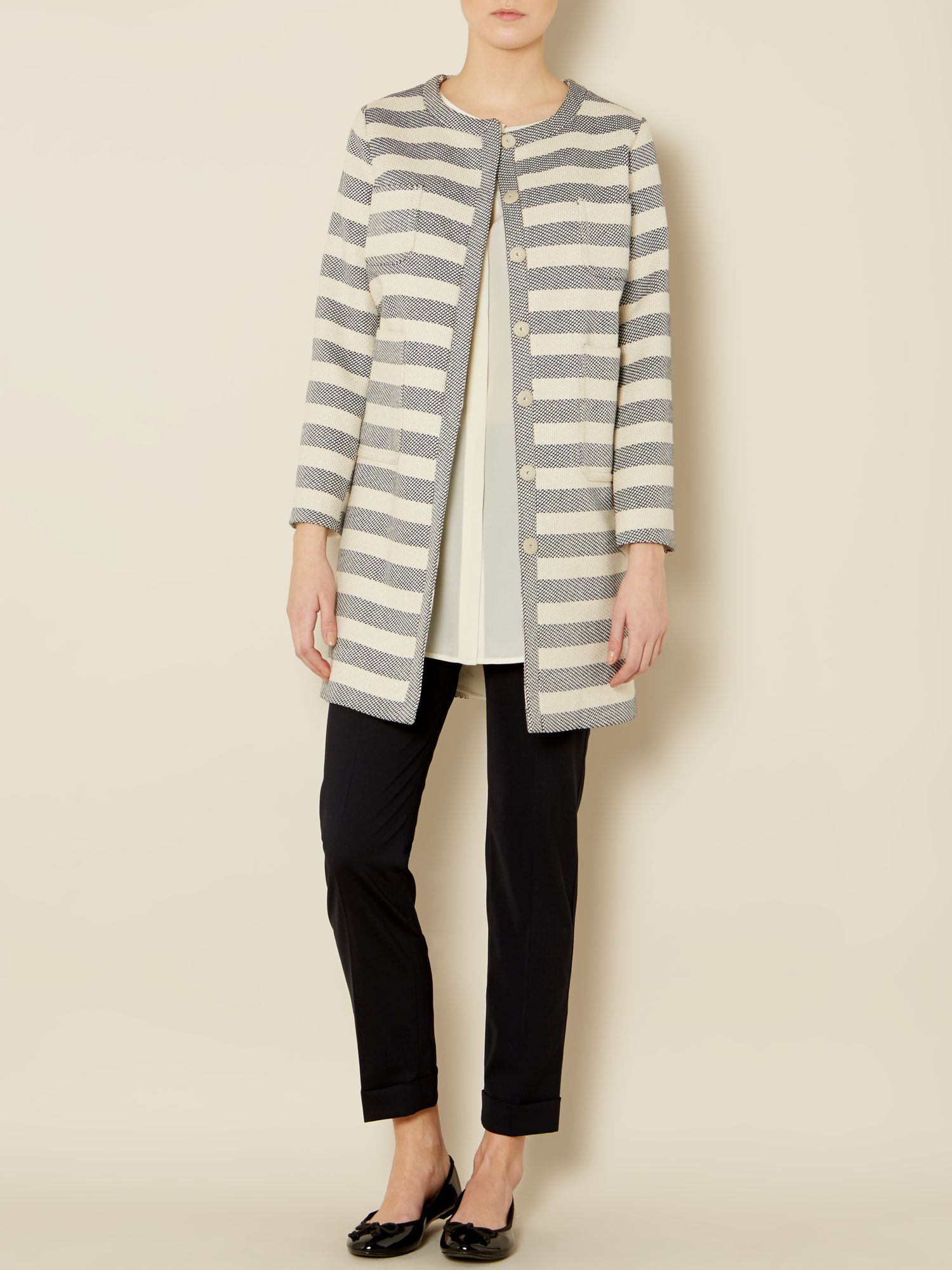 Gordon striped long sleeved crew neck coat