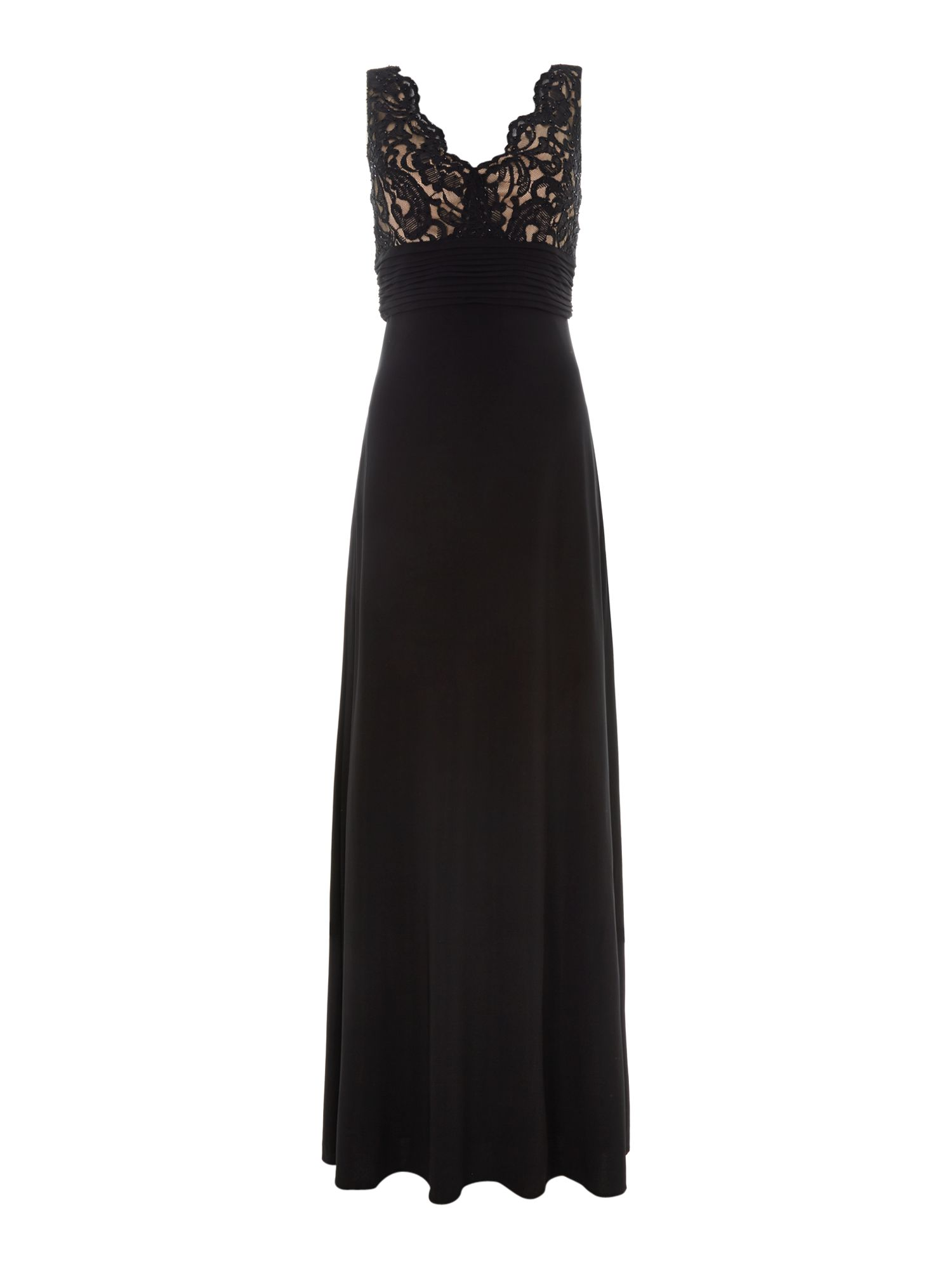 Lace v-neck evening dress
