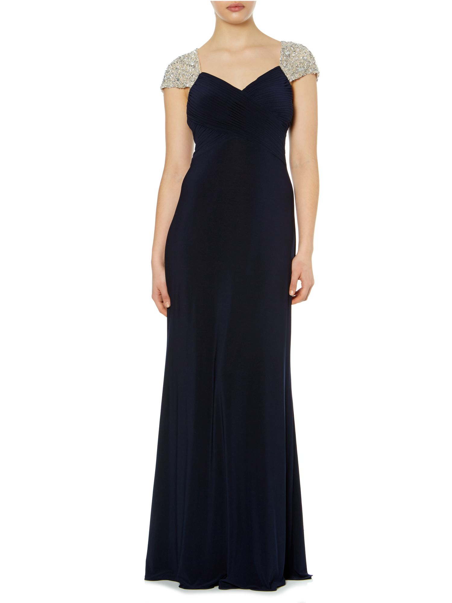 Jewel cap sleeve rouched evening dress