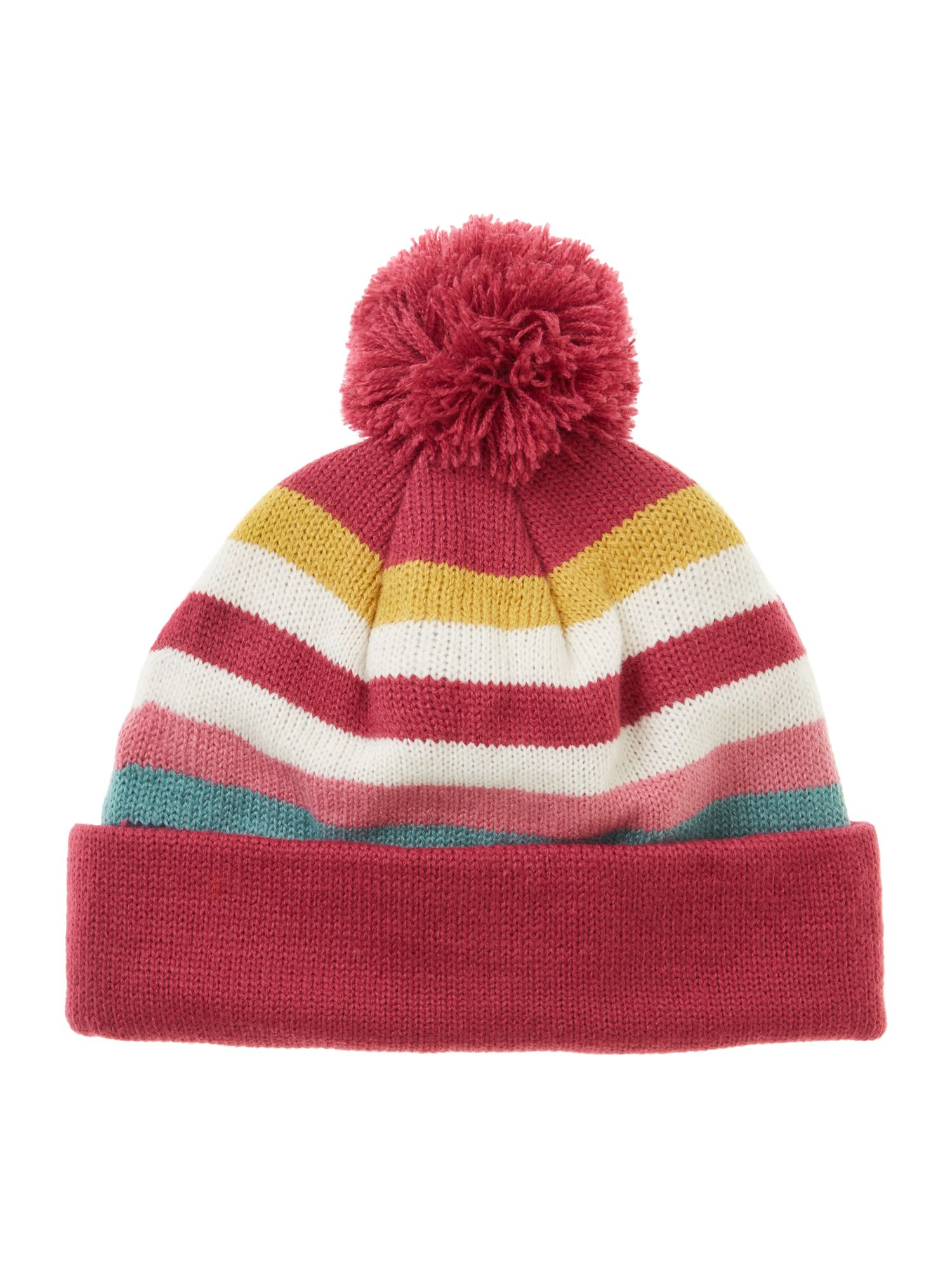 Girl`s striped bobble hat