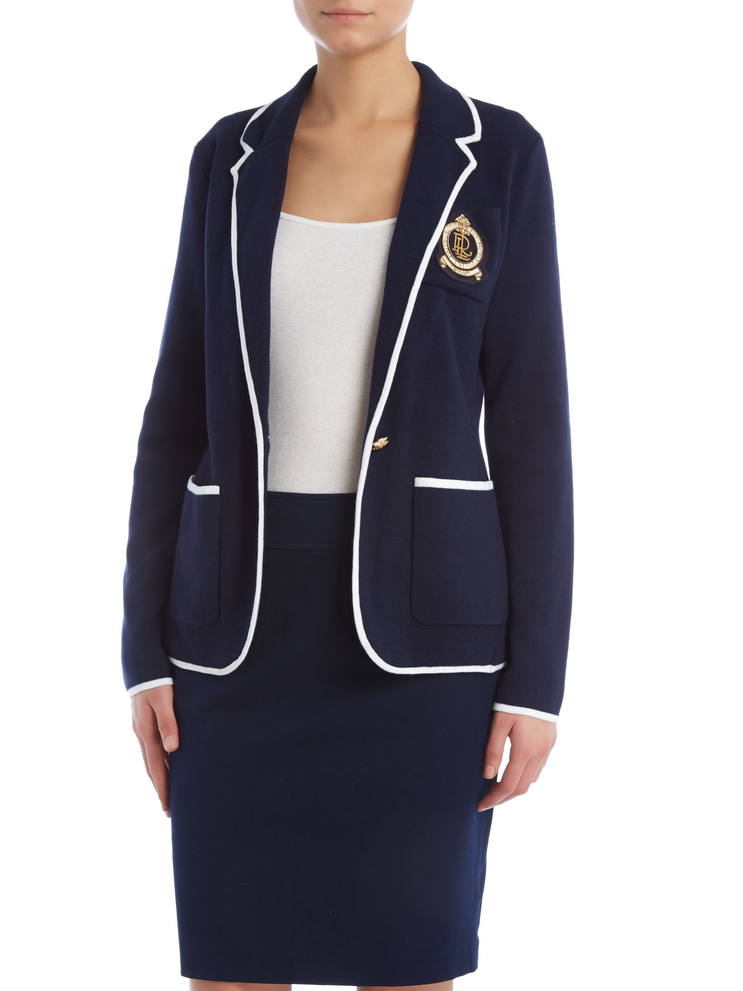 Long sleeve blazer with crest