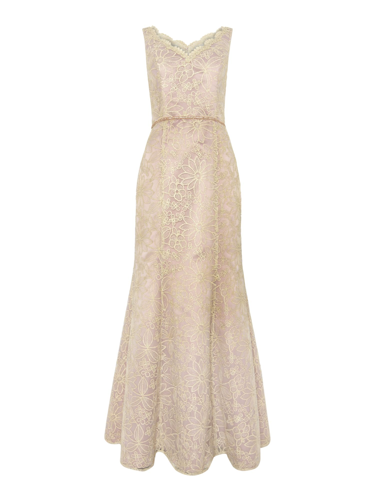 JS Collections Daisy lace evening dress, Lilac
