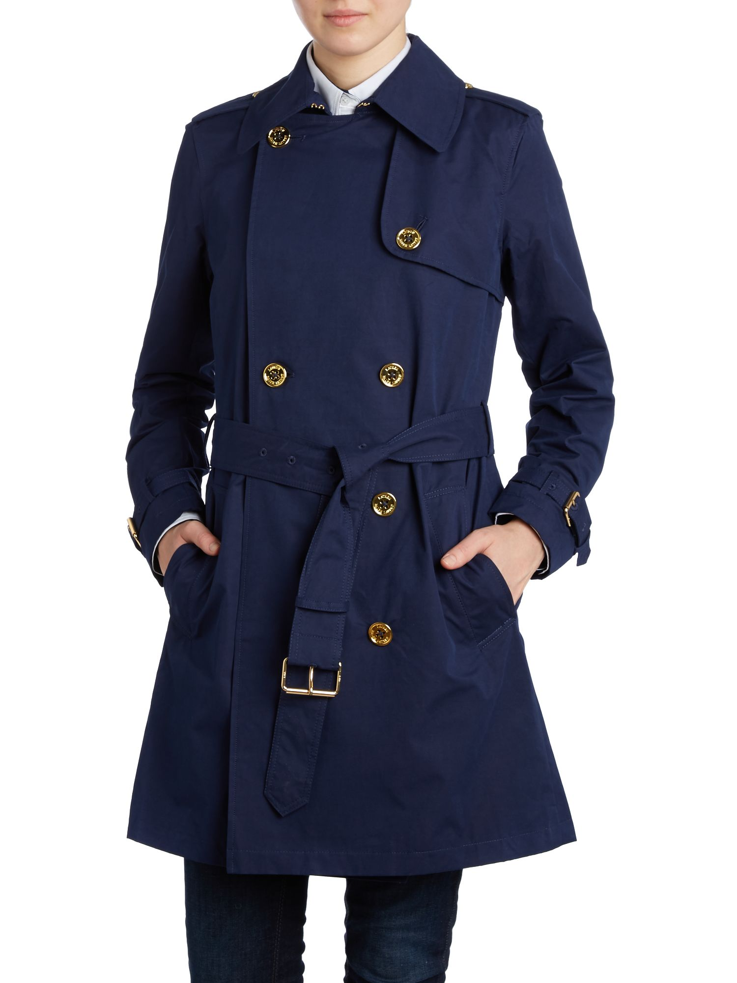 Trench coat with gold buttons