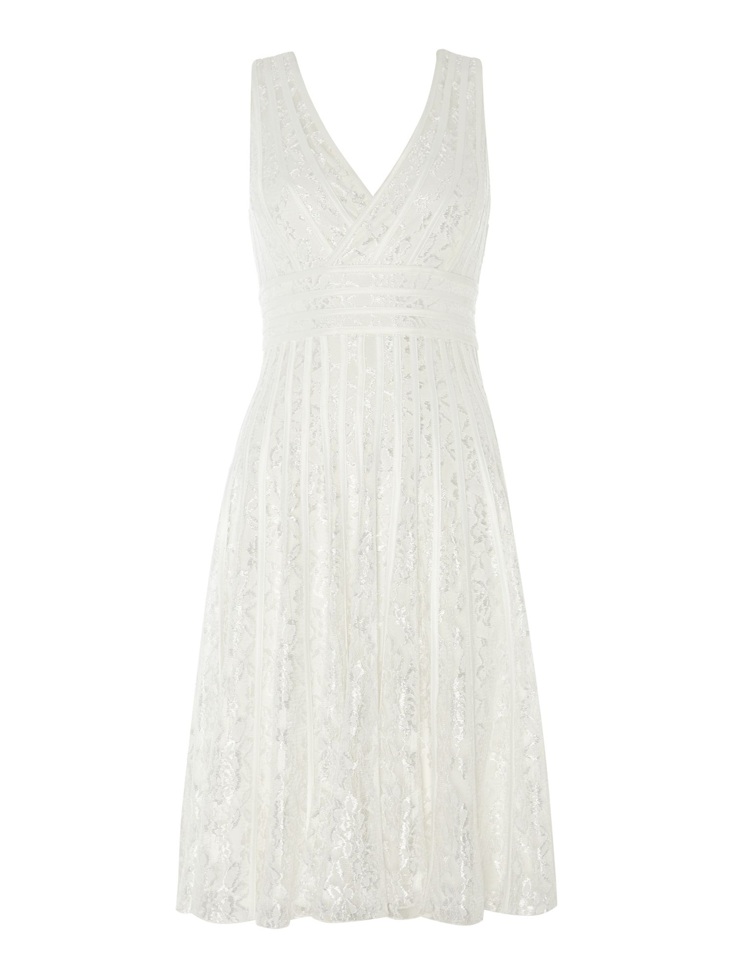 V-neck lace ribbon dress
