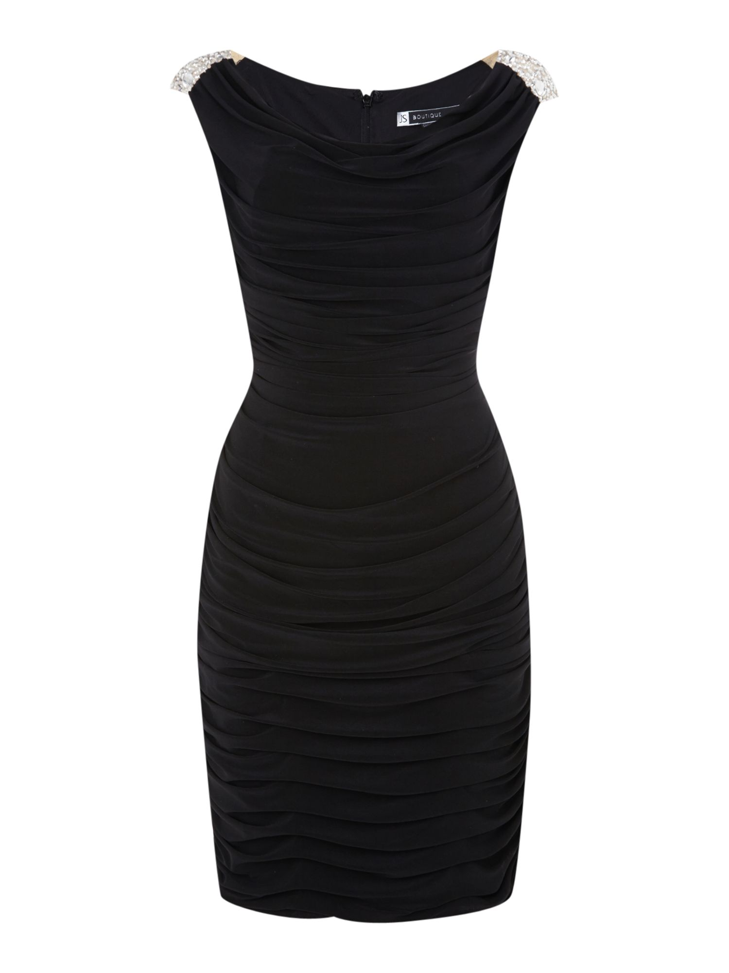 Rouched jersey dress with embellished shoulder