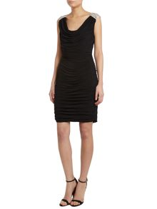 JS Collections Rouched jersey dress with embellished shoulder