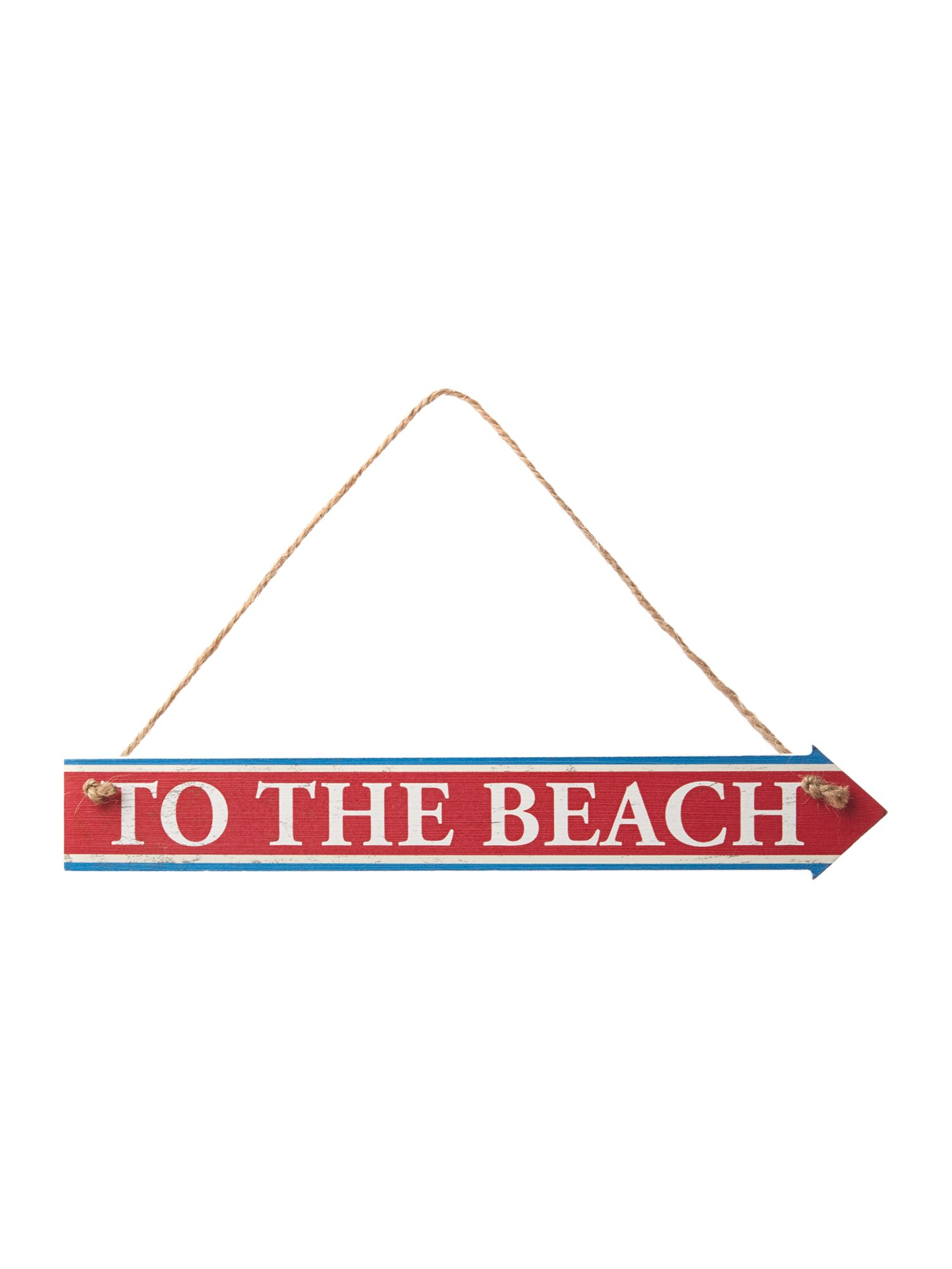 Wooden hanging To the Beach sign