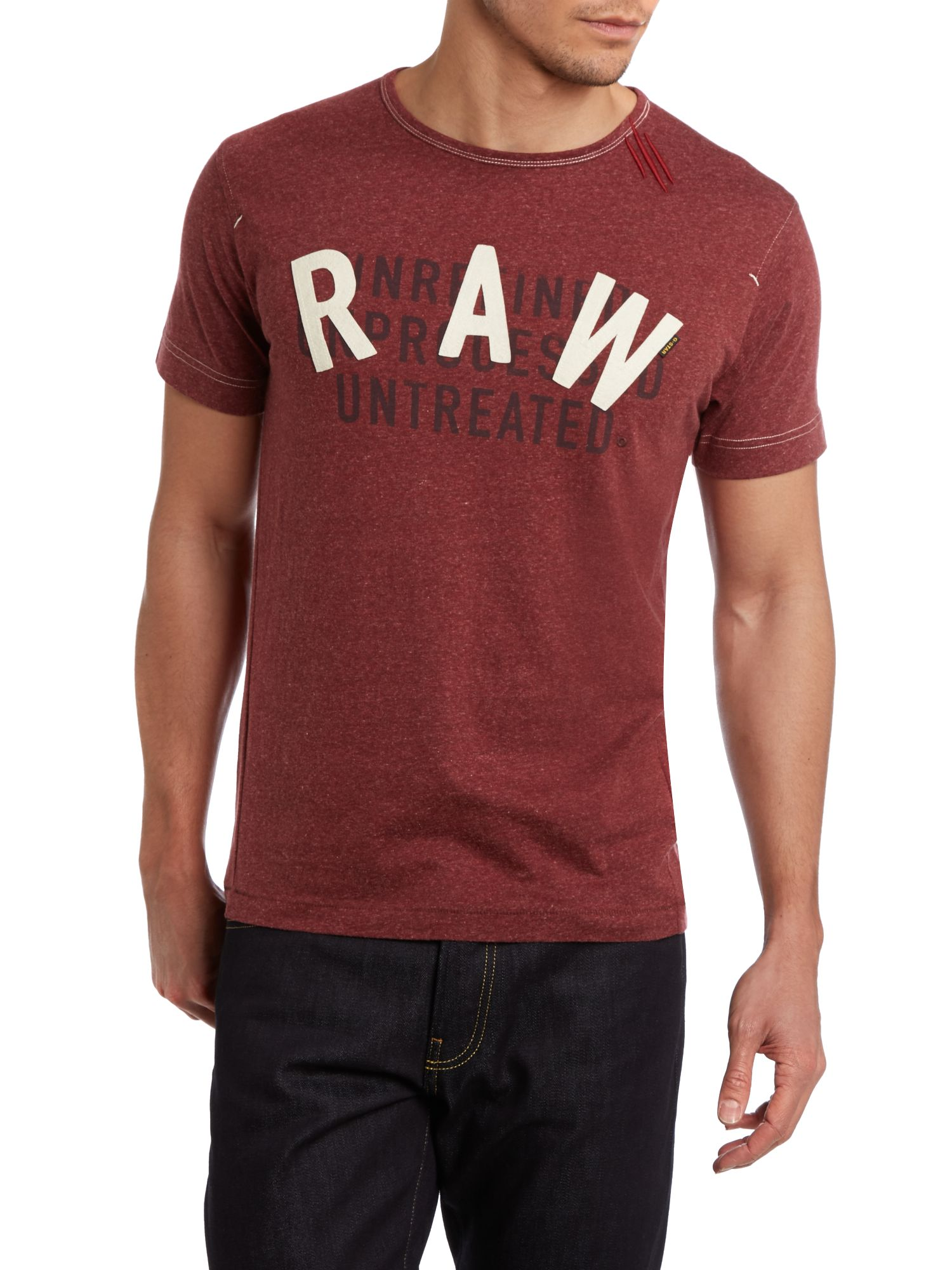 Raw large logo print dark red t-shirt