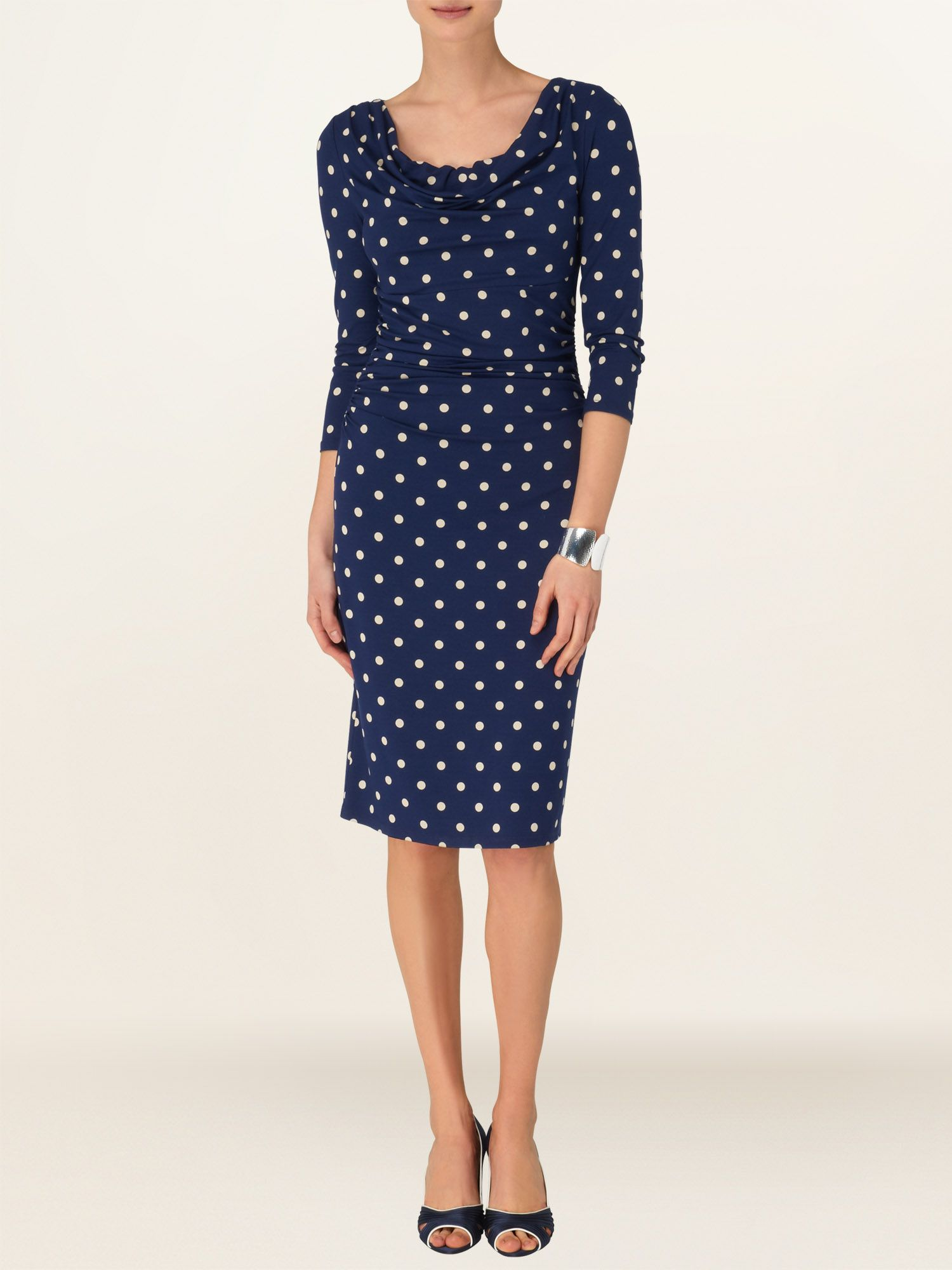 Liv Spot 3/4 Sleeve Cowl Neck Dress