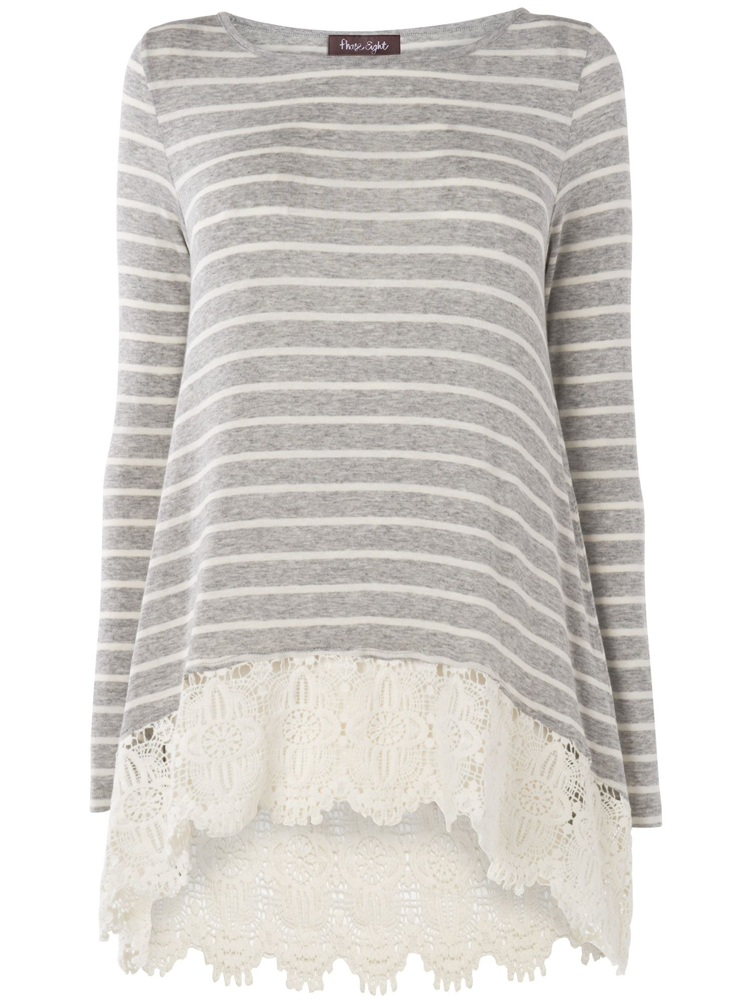 Stripe lace joplin top