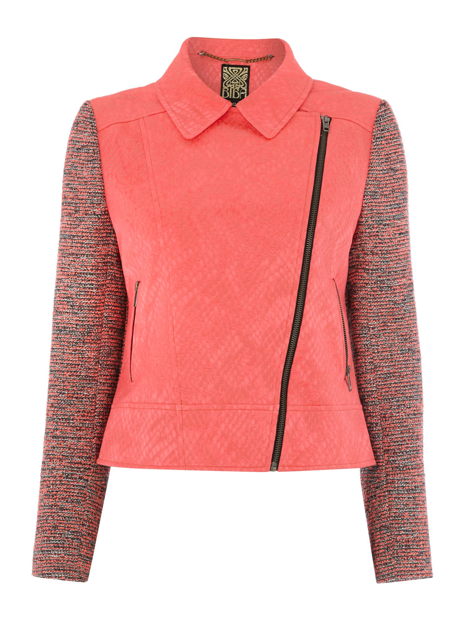 Textured biker jacket with tweed sleeve
