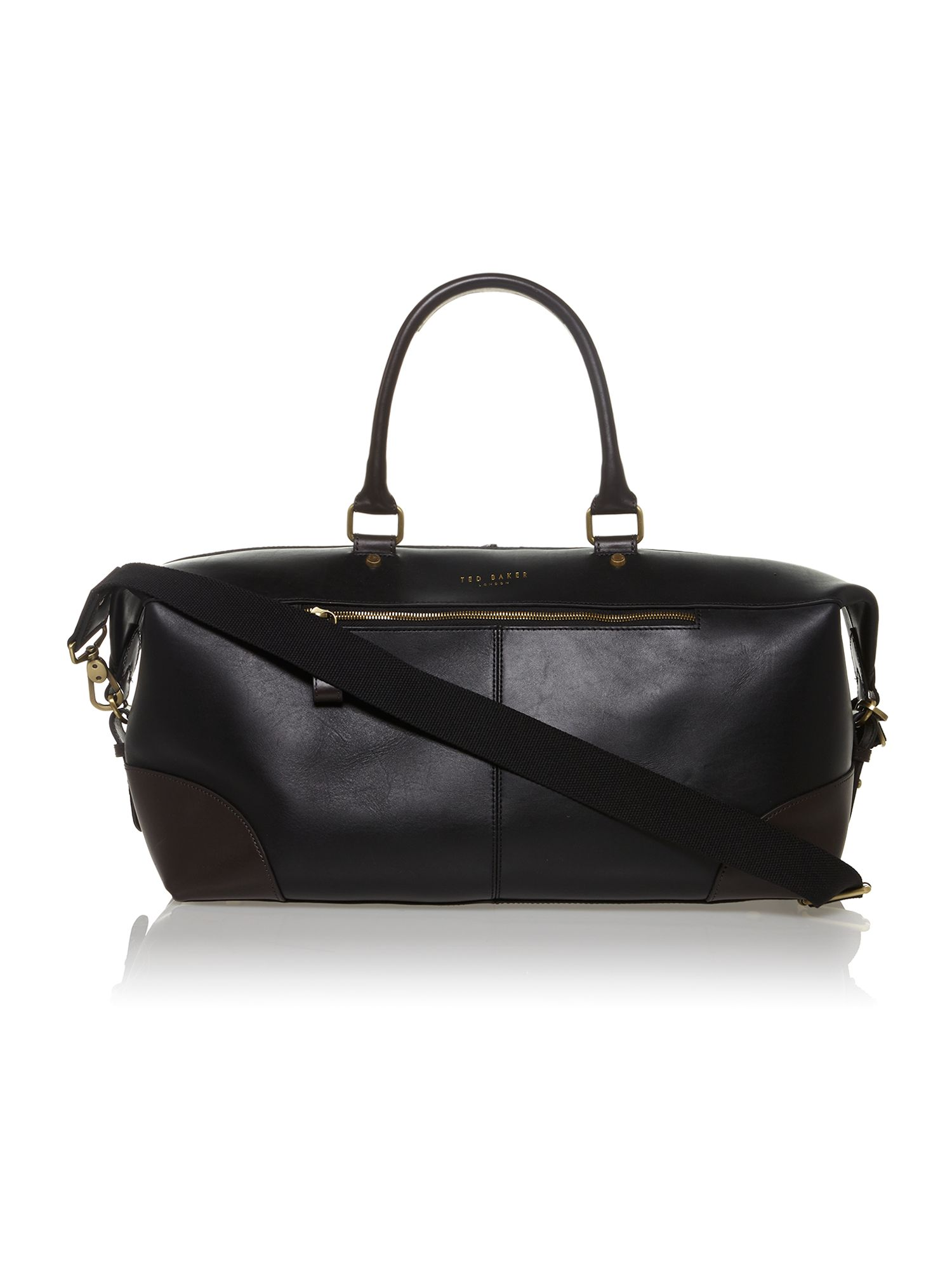 Leather colour block holdall bag