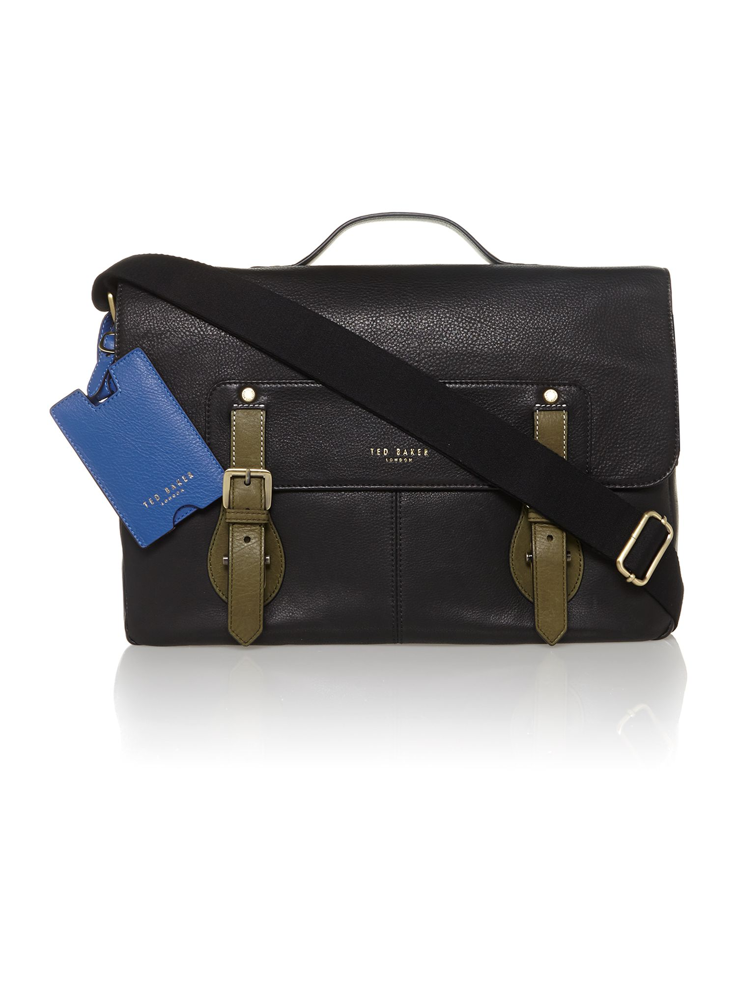 Leather contract buckle satchel bag