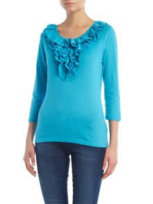 3/4 sleeve top with ruffle front