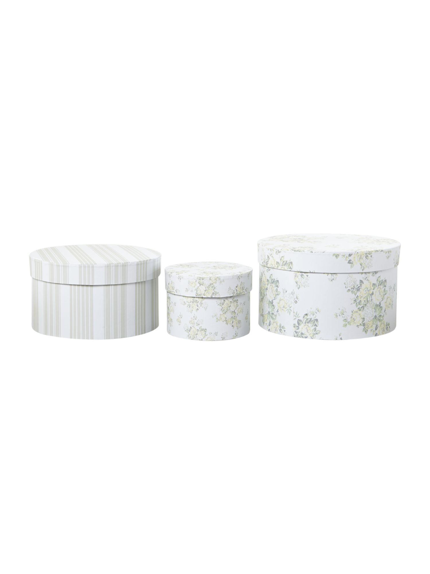 Set of 3 round storage boxes