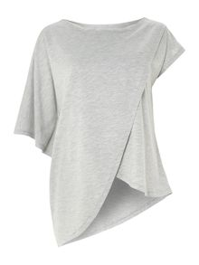 Asymmetric oversized wrap T-shirt