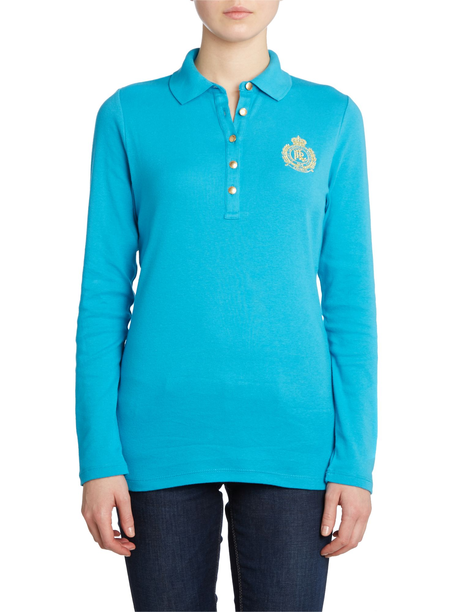 Long sleeve polo with gold crest