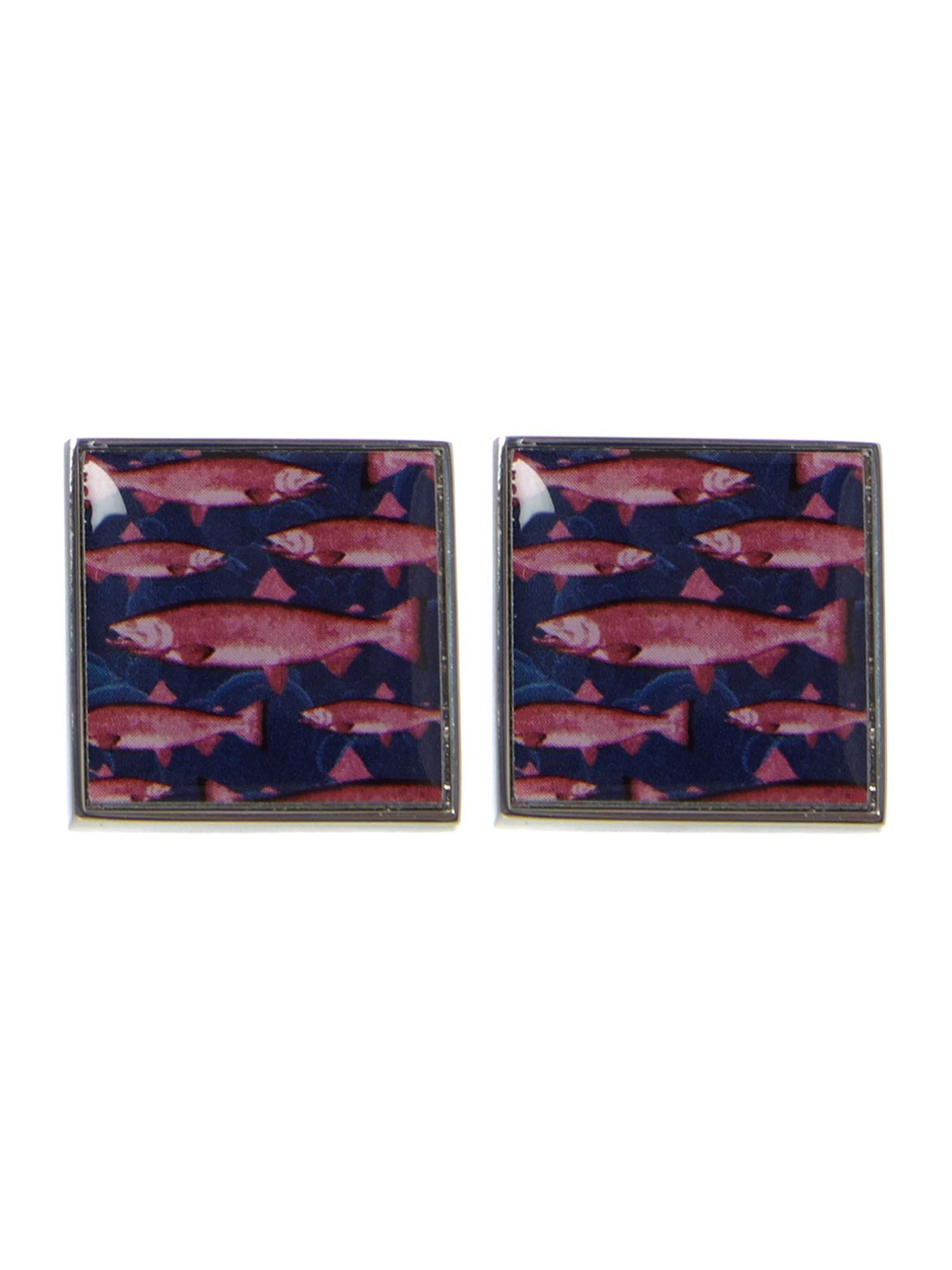 Square fish print cufflinks