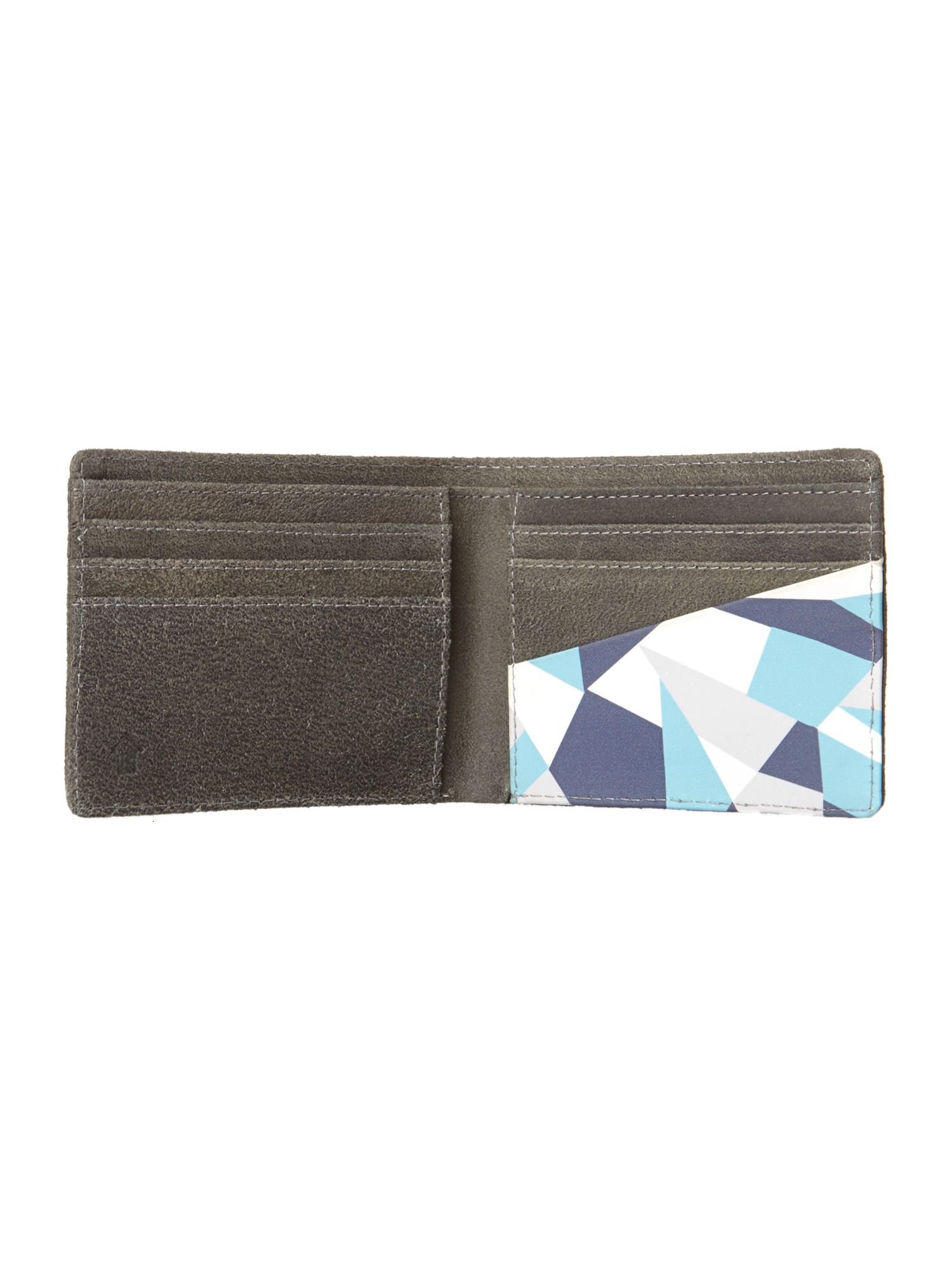 Geo print leather wallet