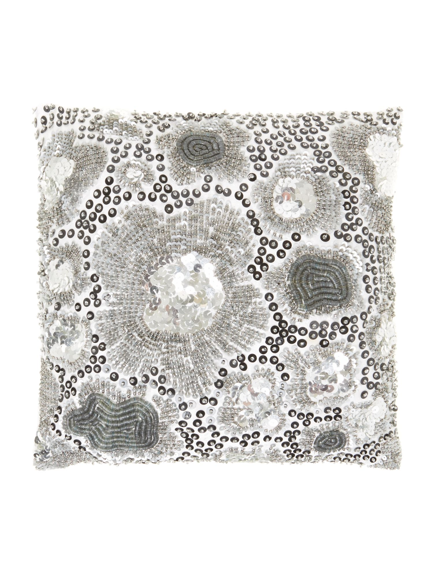 Silver floral burst cushion