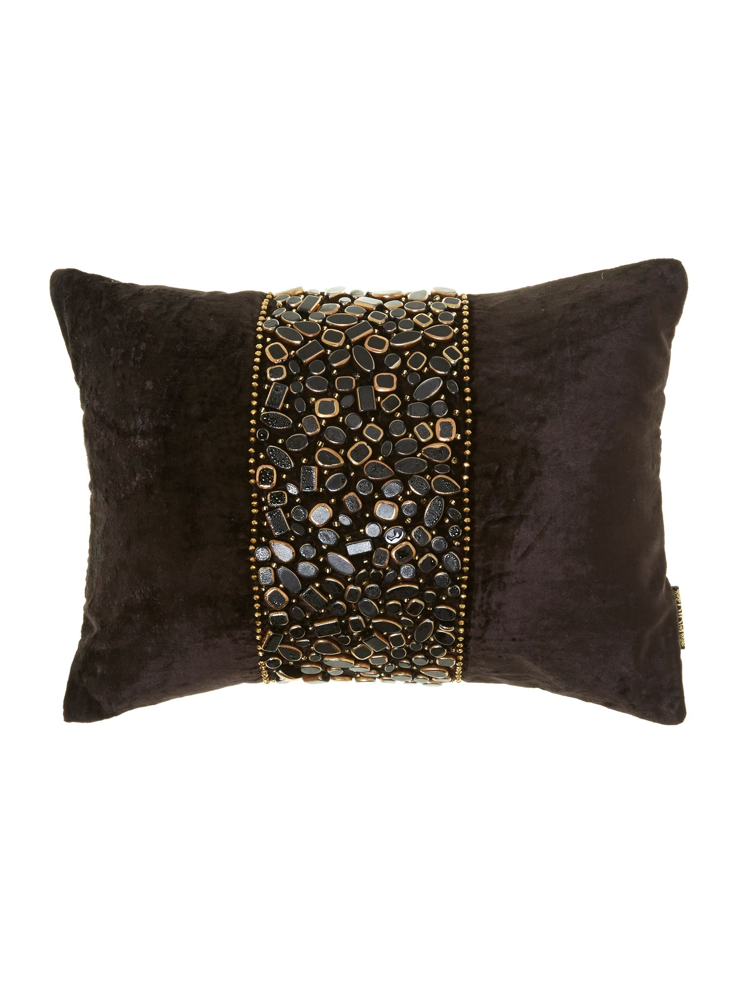 Sultan black and gold beaded cushion