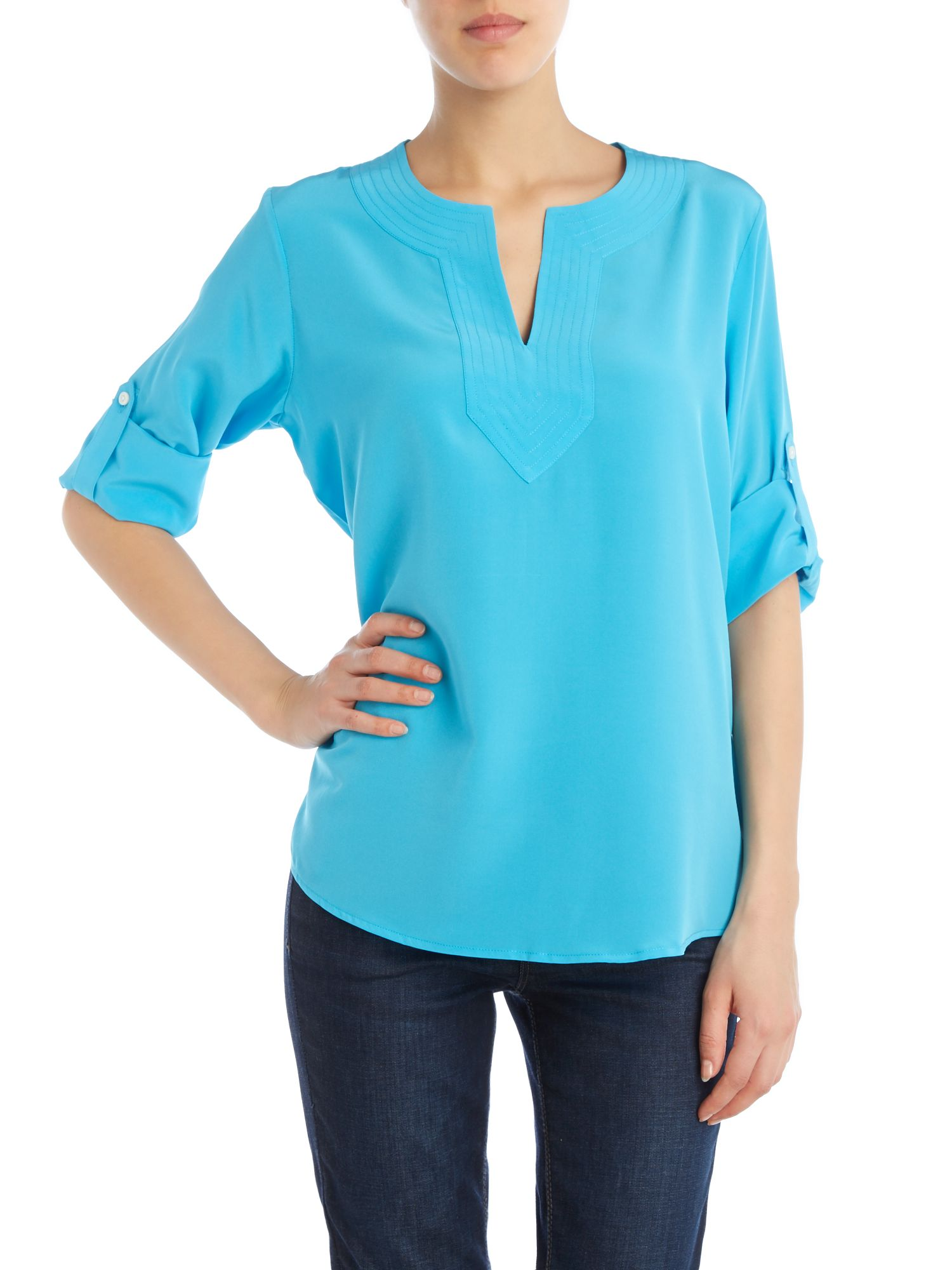 Splitneck silk tunic