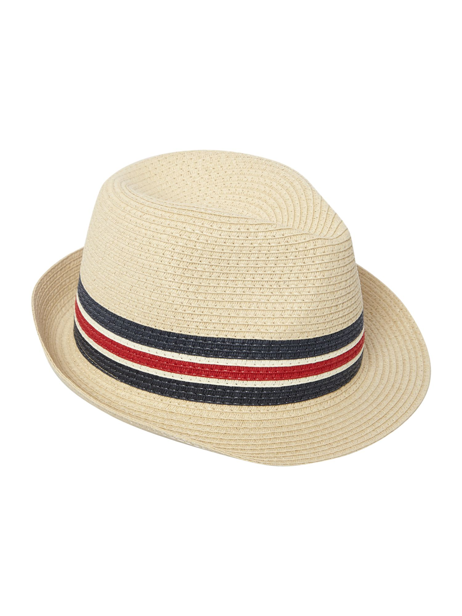 Paper straw trilby with woven band