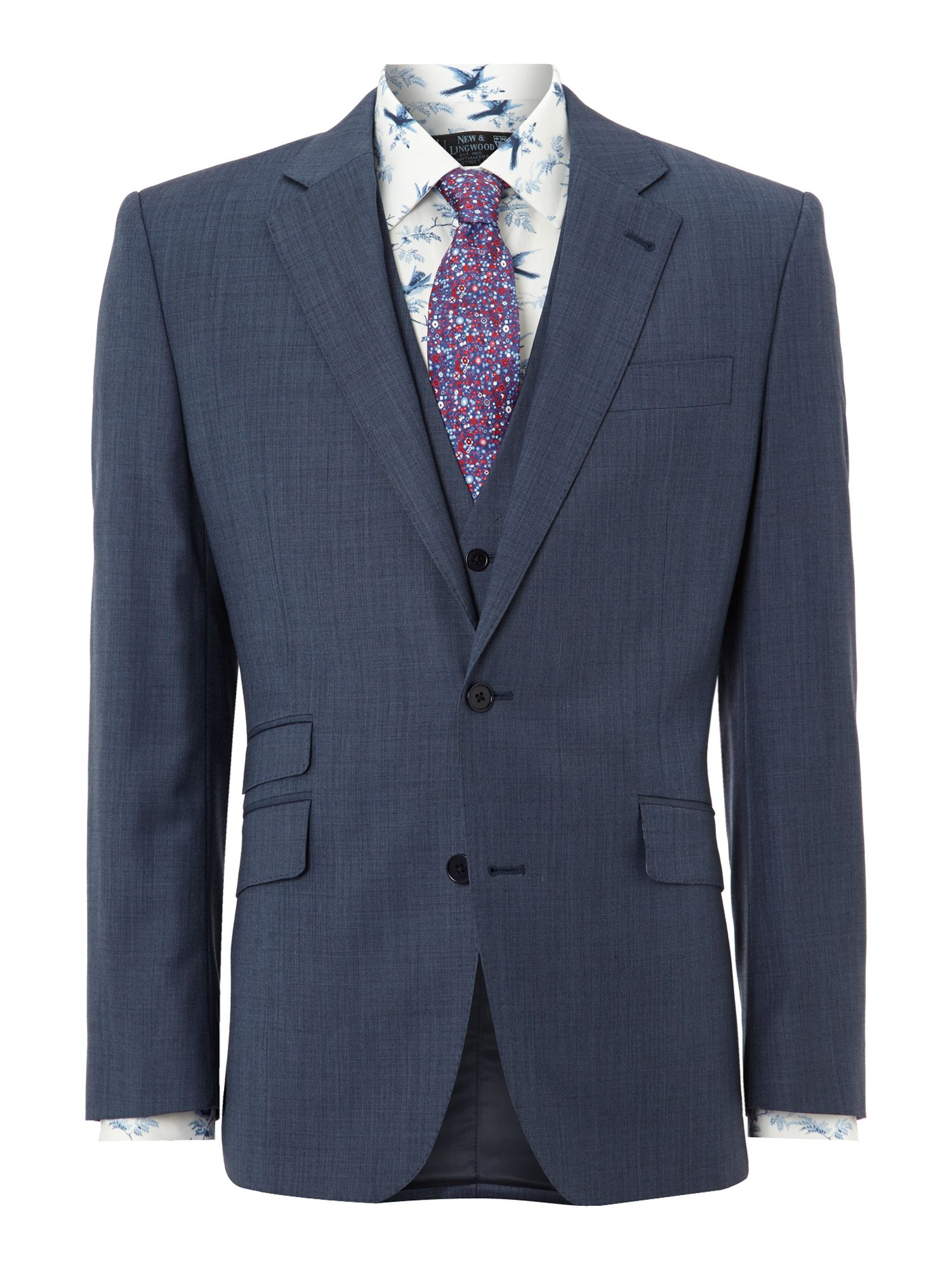 Men's New & Lingwood Coledale End on End Ticket Pocket Suit Jacket, Blue